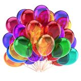 Balloons colorful. birthday party decoration multicolor beautiful. Helium balloon bunch translucent. anniversary celebration, holiday event symbol. 3d Stock Image