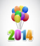 2014 balloons colorful card illustration design. Over a white background Stock Photos