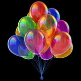 Balloons colorful glossy, birthday party helium balloon bunch. Carnival holiday decoration. multicolor, different color, celebration fun symbol. 3d Stock Photography