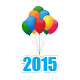 Balloons 2015. Colorful balloons group for 2015 vector illustration