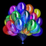 Balloons colorful, happy birthday party helium balloon bunch. Holiday decoration multicolor. different color celebration symbol. 3d illustration, isolated on Royalty Free Stock Photography