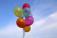 Balloons colorful on sky Stock Image