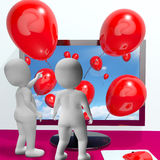 Balloons Coming From Screen Show Online Celebrations Royalty Free Stock Image