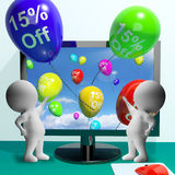 Balloons From Computer Showing Sale Discount Of Fifteen Percent Royalty Free Stock Images