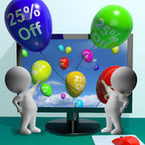 Balloons From Computer Showing Sale Discount Of Twenty Five Perc Royalty Free Stock Image