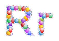 Balloons and confetti � Lett Royalty Free Stock Images