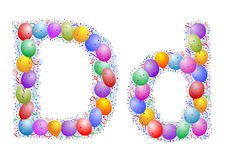 Balloons and confetti – Lett. Party balloons, confetti and ribbon on the light blue background Royalty Free Stock Photo