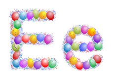 Balloons and confetti – Lett. Party balloons, confetti and ribbon on the light blue background Royalty Free Stock Images