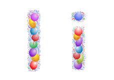Balloons and confetti – Lett. Party balloons, confetti and ribbon on the light blue background stock illustration