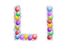 Balloons and confetti – Letter L royalty free illustration