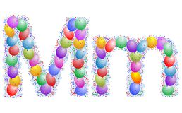 Balloons and confetti – Letter M. Party balloons, confetti and ribbon on the light blue background stock illustration