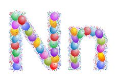 Balloons and confetti � Letter N Royalty Free Stock Images