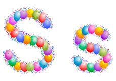 Balloons and confetti – Letter S vector illustration
