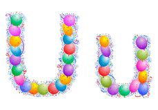 Balloons and confetti – Letter U. Party balloons, confetti and ribbon on the light blue background stock illustration