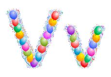 Balloons and confetti – Letter V vector illustration