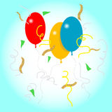 Balloons and confetti. Vector illustration of balloons and confetti used as if during a celebration vector illustration