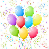 Balloons and confetti. Bunch of Colorful party balloons Royalty Free Stock Photo