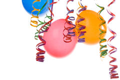 Balloons and confetti. Border made from colorful balloons and confetti isolated on white background Stock Photo