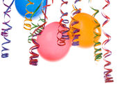 Balloons and confetti. Border made from colorful balloons and confetti isolated on white background Stock Image