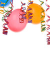 Balloons and confetti. Border made from colorful balloons and confetti isolated on white background Stock Photos
