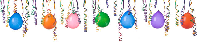 Balloons and confetti. Border made from colorful balloons and confetti isolated on white background XXXL Royalty Free Stock Image