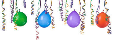 Balloons and confetti. Border made from colorful balloons and confetti isolated on white background XXXL Stock Images