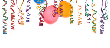Balloons and confetti. Border made from colorful balloons and confetti isolated on white background Royalty Free Stock Photos