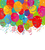 Balloons and confetti. Background of colorful balloons and confetti on white with copy space Stock Photography