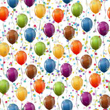 Balloons and confetti background seamless Stock Images