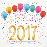Balloons Confetti 2017. 2017 with baloons and confetti Stock Photos