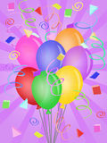 Balloons with Confetti for Birthday Party. Balloons with Confetti Rays Background for Birthday Party Illustration Royalty Free Stock Photography