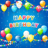 Balloons and confetti on blue Birthday background Royalty Free Stock Images