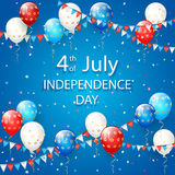 Balloons and confetti on blue Independence Day background. USA Independence day. Theme 4th of july with flying colorful balloons, pennants and confetti on blue Royalty Free Stock Photography