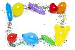 Balloons and confetti border Stock Image
