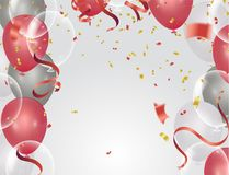 Balloons, confetti concept design background. Celebration happy. Birthday Vector illustration. Transparent colorful balloons in air Royalty Free Stock Photos