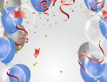 Balloons, confetti concept design background. Celebration happy. Birthday Vector illustration. Transparent colorful balloons in air Royalty Free Stock Photography