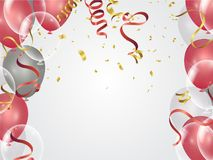 Balloons, confetti concept design background. Celebration happy. Birthday Vector illustration. Transparent colorful balloons in air Royalty Free Stock Images