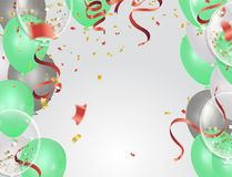Balloons, confetti concept design background. Celebration happy. Birthday Vector illustration. Transparent colorful balloons in air Royalty Free Stock Image
