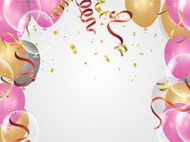 Balloons, confetti concept design background. Celebration happy. Birthday Vector illustration. Transparent colorful balloons in air Stock Photos