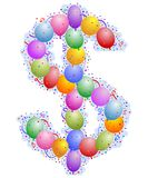 Balloons and confetti - Dollar Sing stock illustration