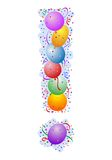 Balloons and confetti - Exclamation Mark royalty free illustration