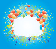 Balloons, confetti and firework. Royalty Free Stock Photos