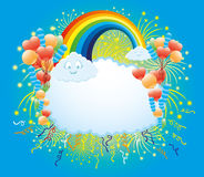 Balloons, confetti, firework, rainbow and clouds. Stock Photography