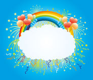 Balloons, confetti, firework and rainbow. Festive illustration for your text with balloons, confetti, firework and rainbow Royalty Free Stock Photo