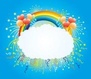 Balloons, confetti, firework and rainbow. Royalty Free Stock Photo