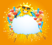 Balloons, confetti, firework, rainbow and sun. Festive illustration for your text with balloons, confetti, firework, rainbow and sun Stock Photo