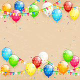 Balloons and confetti on grunge background Royalty Free Stock Image