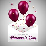 Balloons with confetti. Happy valentines day banner. Vector. Happy valentine`s day. Greeting card design Royalty Free Stock Photos