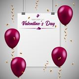 Balloons with confetti. Happy valentines day banner. Vector. Happy valentine`s day. Greeting card design Stock Photo