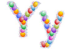 Balloons and confetti – Lett Royalty Free Stock Photo